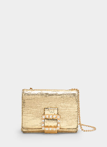 Crystal Embellished Metallic Clutch, Gold, hi-res