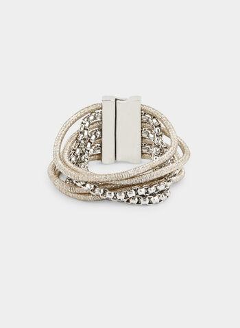 Bracelet à aspect métallisé, Jaune,  bracelet, métallisé, rangées, corde, automne hiver 2019