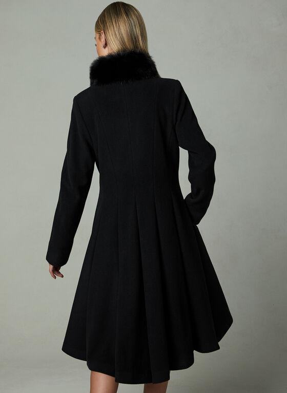 Mallia - Genuine Fur Trim Coat, Black, hi-res