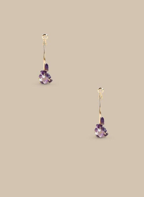 Stone Detail Hoop Earrings , Purple