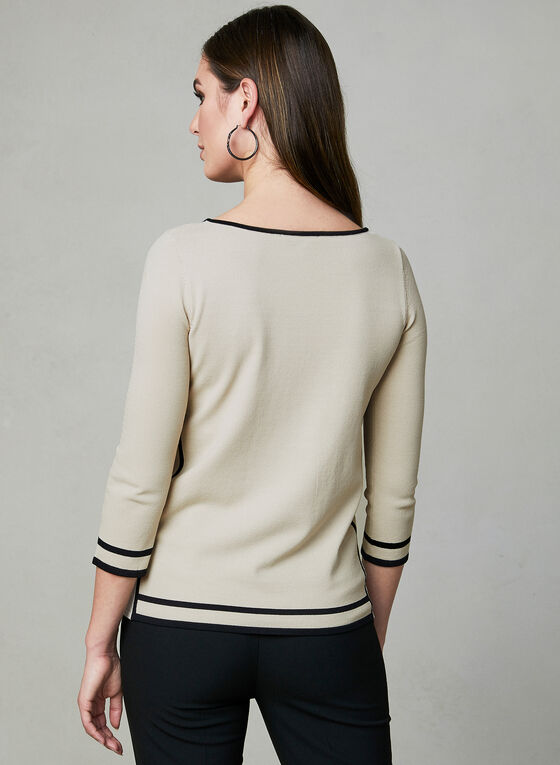 Contrast Border ¾ Sleeve Top, Off White, hi-res