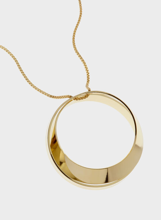 Ring Pendant Box Chain Rope Necklace, Gold, hi-res
