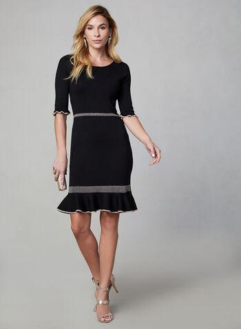 Melanie Lyne – Ruffled Hem Knit Dress, Black, hi-res,  knit dress