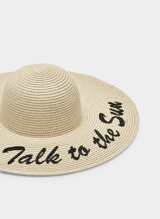 Embroidered Straw Hat, Brown, hi-res