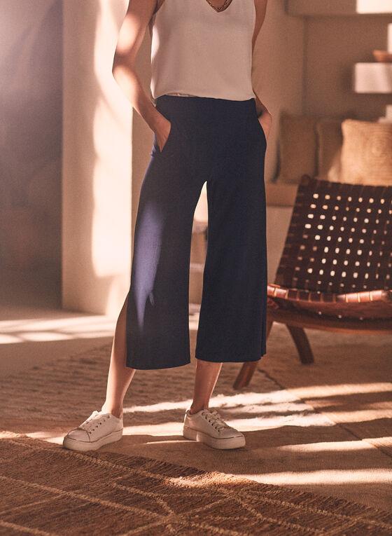 Slit Hem Gaucho Pants, Blue