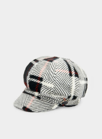 Plaid Print Newsboy Cap, Black,  hat, cap, plaid print, newsboy, fall 2019, winter 2019