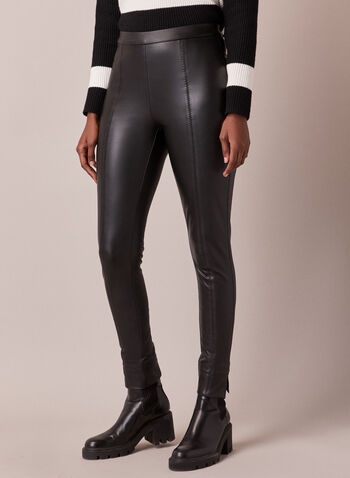 Vegan Leather Leggings, Black,  leggings, vegan leather, pull on, faux leather, slim leg, fall winter 2020