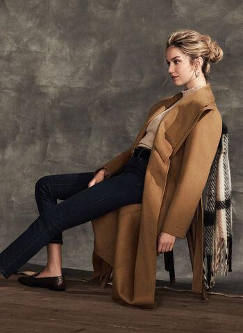 Tahari - Manteau long ceinturé, Brun,  manteau, long, ceinture, laine, poches, ouvert, automne hiver 2020