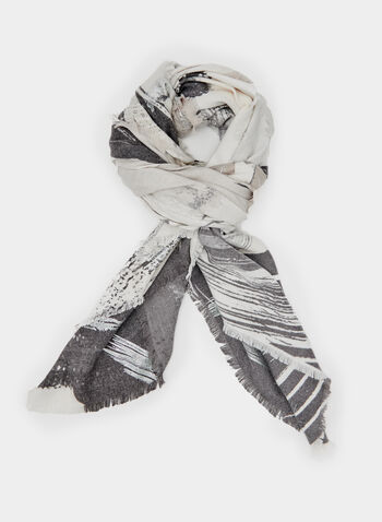 Brush Stroke Print Scarf, Grey, hi-res