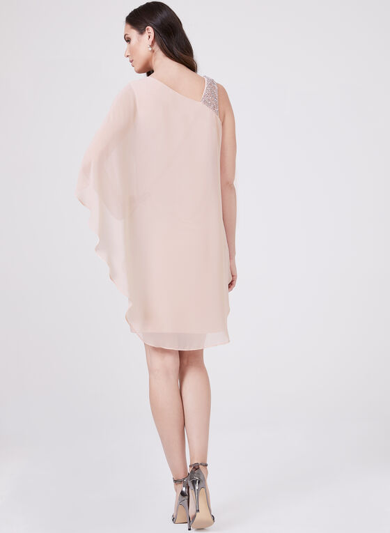 BA Nites - One Shoulder Cape Dress, Pink, hi-res