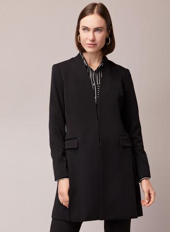 Faux Leather Detail Redingote, Black,  jacket, redingote, faux leather, fall winter 2020