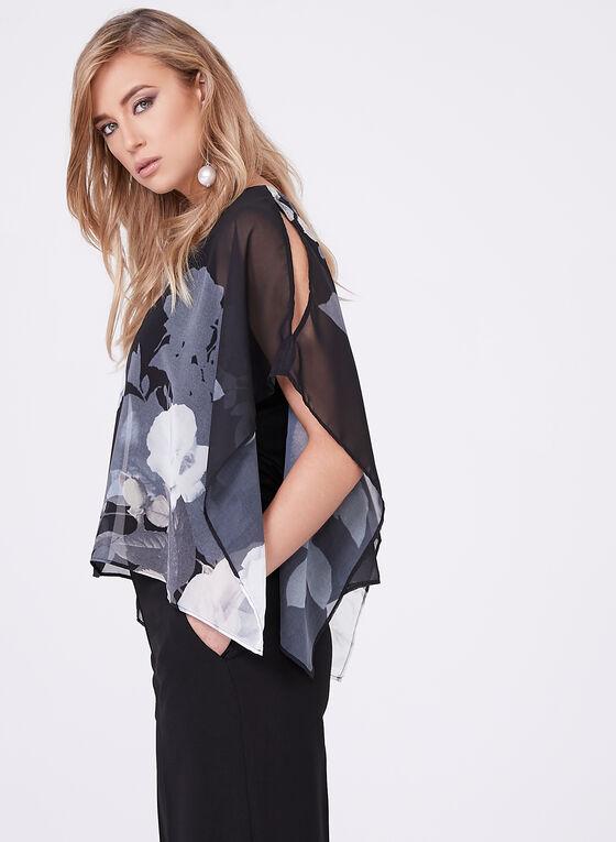 Blouse poncho fleurie à manches kimono, Noir, hi-res