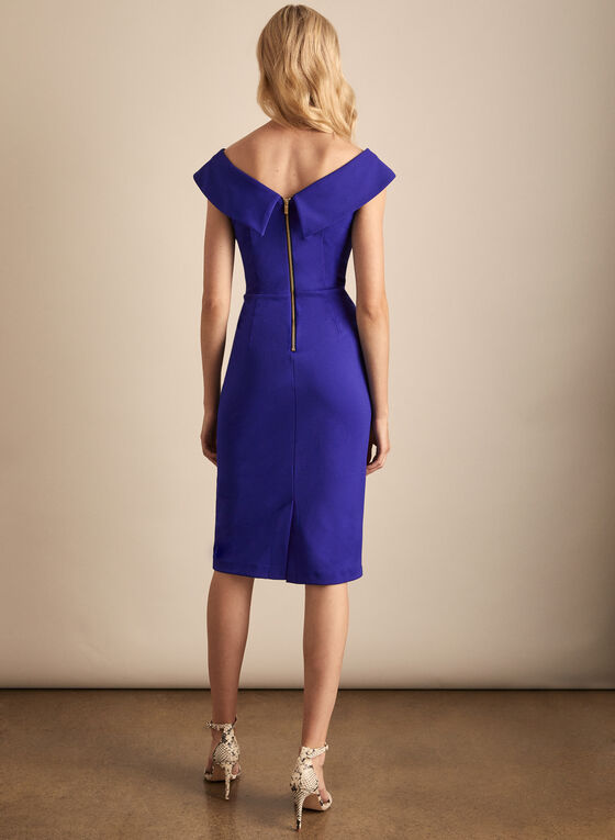 V-Neck Cocktail Dress, Blue