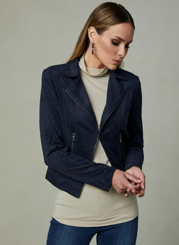 Vex - Faux Suede Jacket, Blue, hi-res