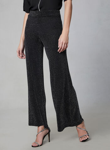 Metallic Wide Leg Pants, Black,  pants, wide legs, metallic, pull on, fall 2019, winter 2019