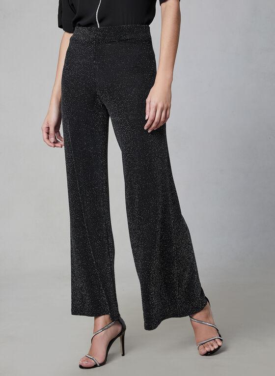 Metallic Wide Leg Pants, Black