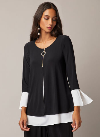 Joseph Ribkoff - Zipper Collar Contrast Top, Black,  top, contrast, 3/4 sleeves, zipper, fall winter 2020
