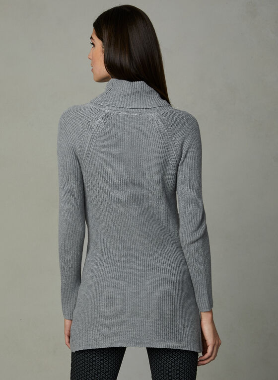 Knit Cowl Neck Tunic, Grey, hi-res
