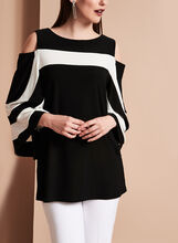 Frank Lyman Contrast Cold Shoulder Blouse, Black, hi-res