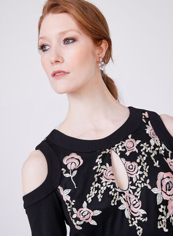 Jax – Embroidered Cold-Shoulder Dress, Black, hi-res