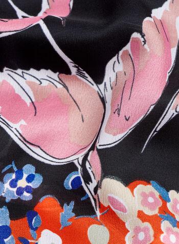 Bird & Floral Print Scarf, , hi-res
