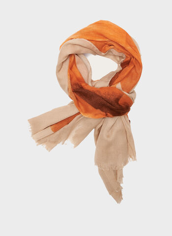 Lightweight Floral Print Scarf, Orange, hi-res