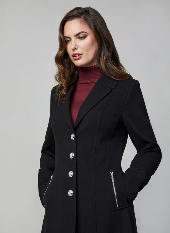 Single Breasted Coat, Black, hi-res