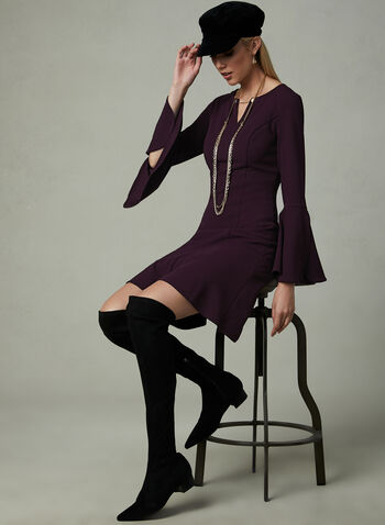 Ivanka Trump - Bell Sleeve Dress, Purple, hi-res