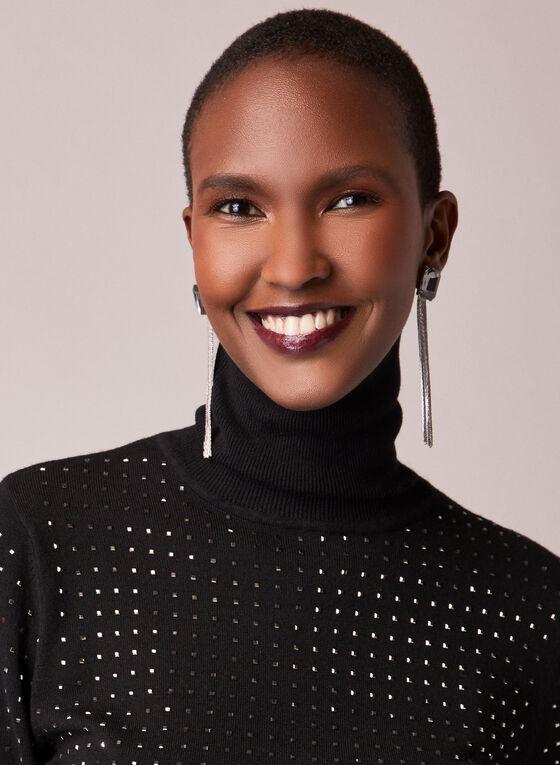 Studded Turtleneck Sweater, Black