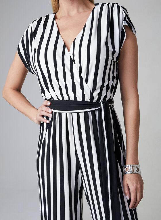 Sandra Darren - Stripe Print Jumpsuit, Black