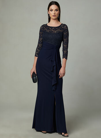 Marina - Lace Empire Waist Dress, Blue, hi-res