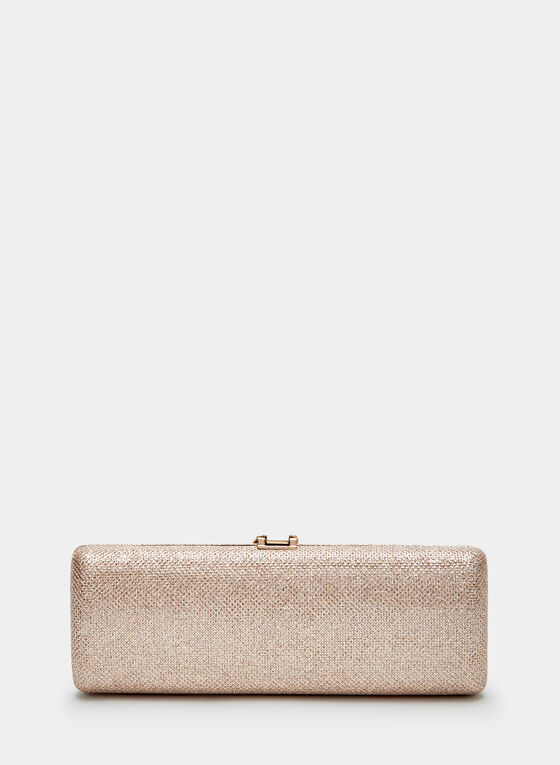 Feather Clasp Box Clutch, Off White, hi-res