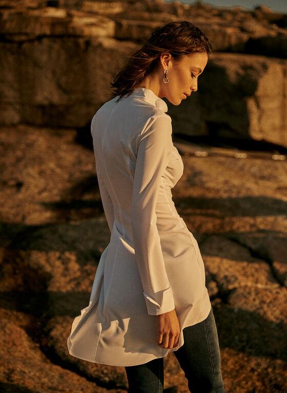 Joseph Ribkoff - Ruffle Collar Button Front Tunic, White