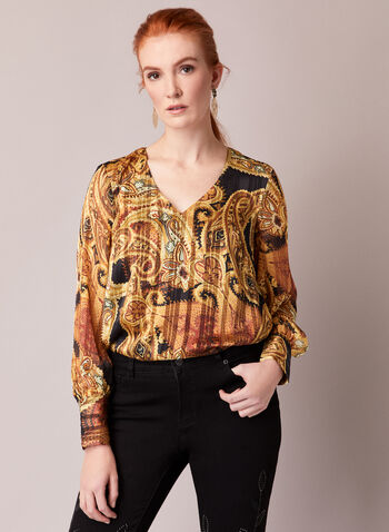 Paisley Print Striped Blouse, Yellow,  fall winter 2020, blouse, chiffon, muslin, long sleeves, paisley, striped, print, holiday