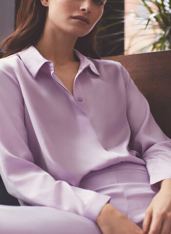 Long Sleeve Satin Blouse, Purple,  shirt, blouse, shirt collar, long sleeves, buttons, satin, spring summer 2020