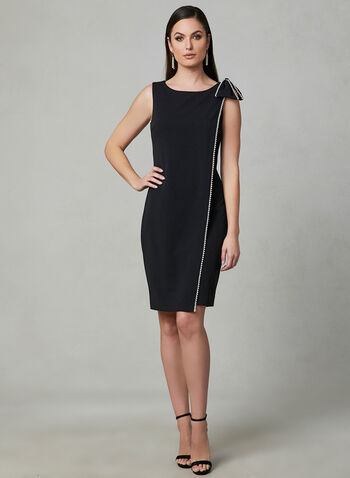 Karl Lagerfeld Paris - Faux Wrap Sheath Dress, Black, hi-res