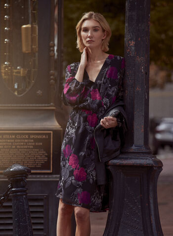 Floral Print Balloon Sleeve Dress, Black,  dress, day, floral, long sleeves, fall winter 2020