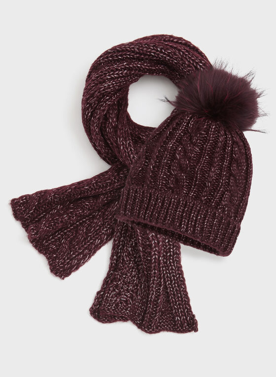 Cable Knit Scarf , Red, hi-res