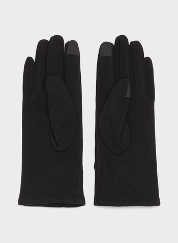 Rabbit Fur Faux Suede Gloves, Black, hi-res