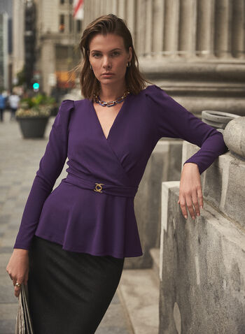 Belted Faux Crossover Top, Purple,  top, crossover, belt, v-neck, long sleeves, leg of mutton, crepe, fall winter 2020
