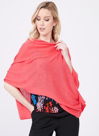 Pashmina Knit Wrap, Orange, hi-res