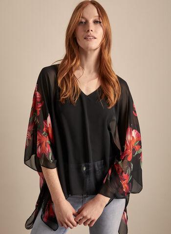 Joseph Ribkoff - Floral Print Chiffon Poncho Blouse, Black,  top, blouse, v-neck, chiffon, jersey, floral, sleeveless, spring summer 2020