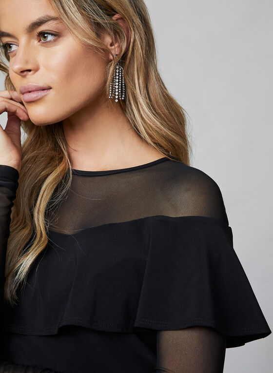 Sheer Sleeves Top, Black