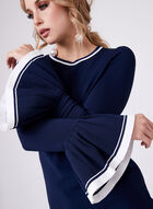 Pleated Bell Sleeve Knit Tunic, Blue, hi-res