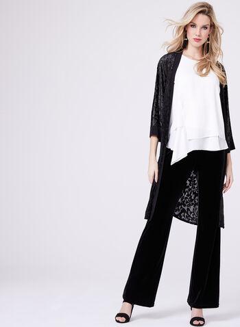 Cardigan kimono en velours satiné, Noir, hi-res