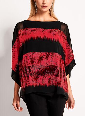 Geometric Print Kimono Blouse, Red, hi-res