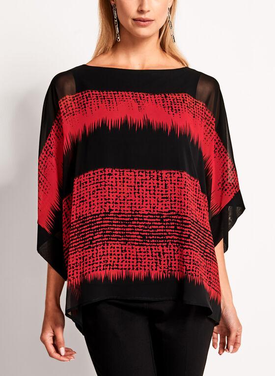 Blouse poncho manches kimono à motif géométrique, Rouge, hi-res