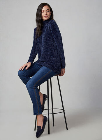 Chenille Turtleneck Sweater, Blue,  knit sweater, long-sleeve sweater