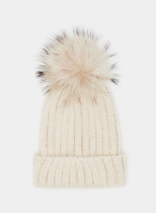 Fur Pompom Pulled Yarn Tuque, Brown, hi-res