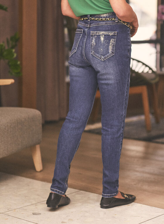 Jeans à jambe étroite avec chaîne , Bleu